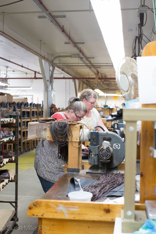 Skilled Workers Creating Shoes